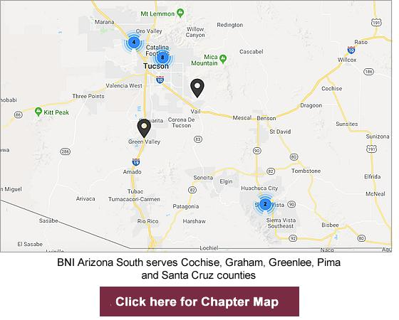 Map Of South Arizona.Bni Arizona South Forming Chapters Business Networking Referral